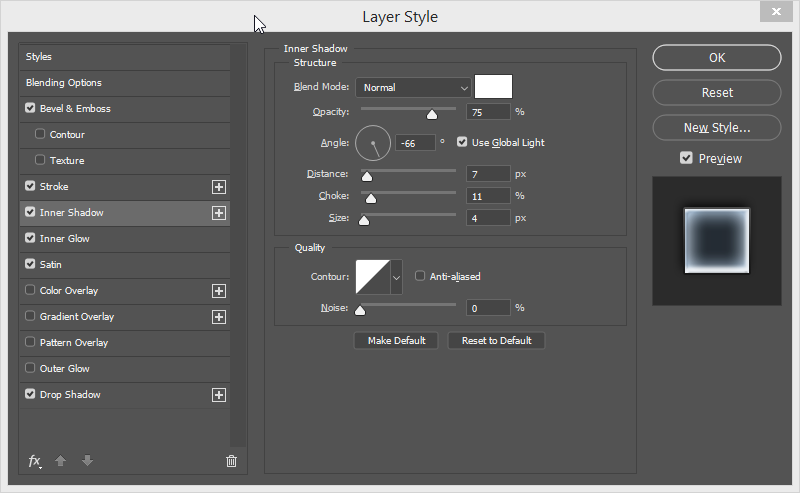 photoshop efekat staklo inner shadow