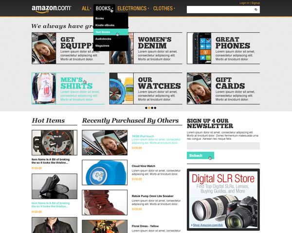 amazon third concept menu trevor cleveland 18 Cool Concept Designs (Facelift) of Notable Websites
