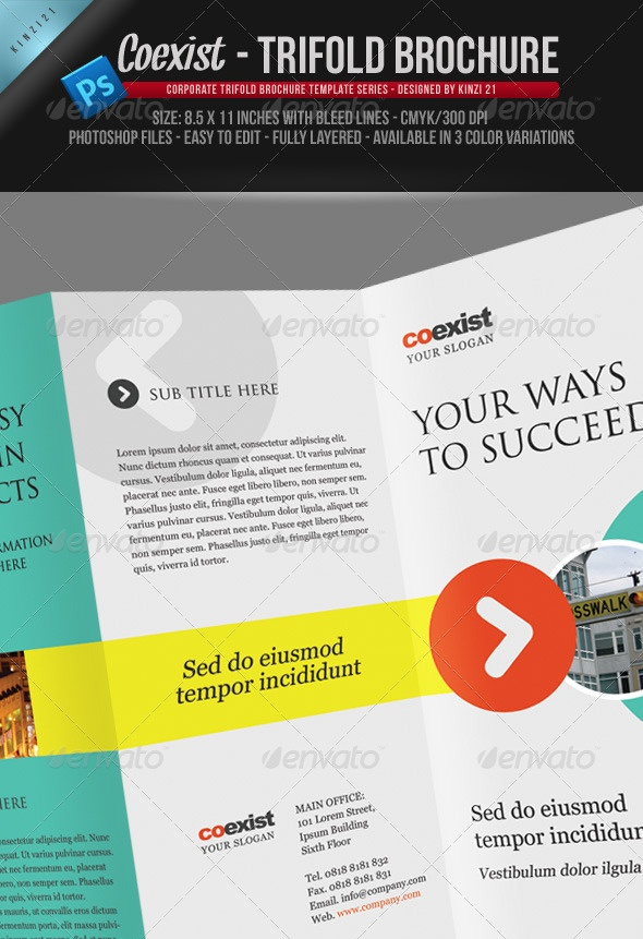 Coexist - Trifold Brochure PSD Template
