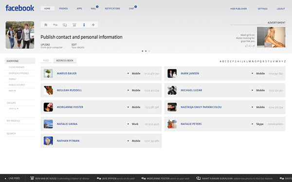 facebook contacts page barton smith 18 Cool Concept Designs (Facelift) of Notable Websites