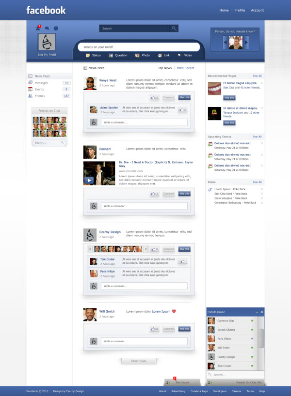 facebook main page czarny design 18 Cool Concept Designs (Facelift) of Notable Websites