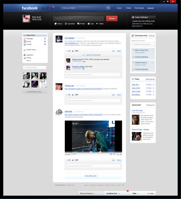 facebook main page peter knoll 18 Cool Concept Designs (Facelift) of Notable Websites