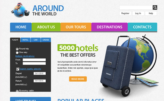 Free Travel Website Template with PSD files