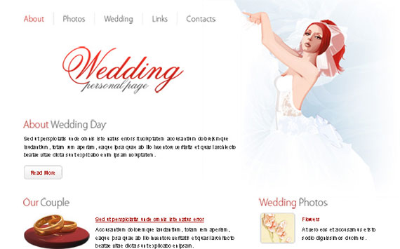 Free Wedding Website Template with PSD files
