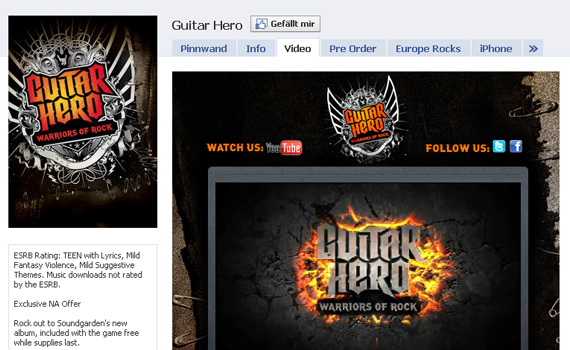guitar hero beautiful facebook site
