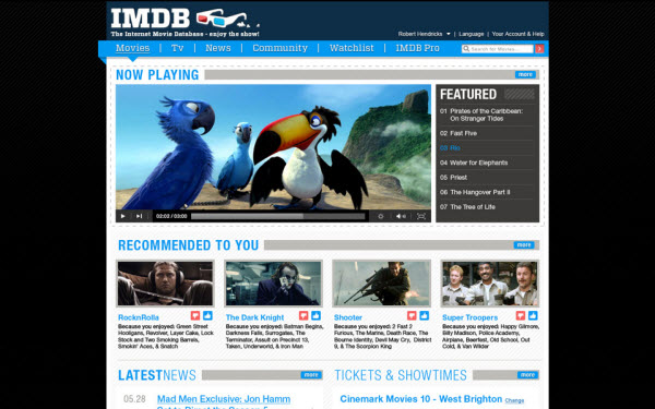 imdb main page rob hendricks 18 Cool Concept Designs (Facelift) of Notable Websites