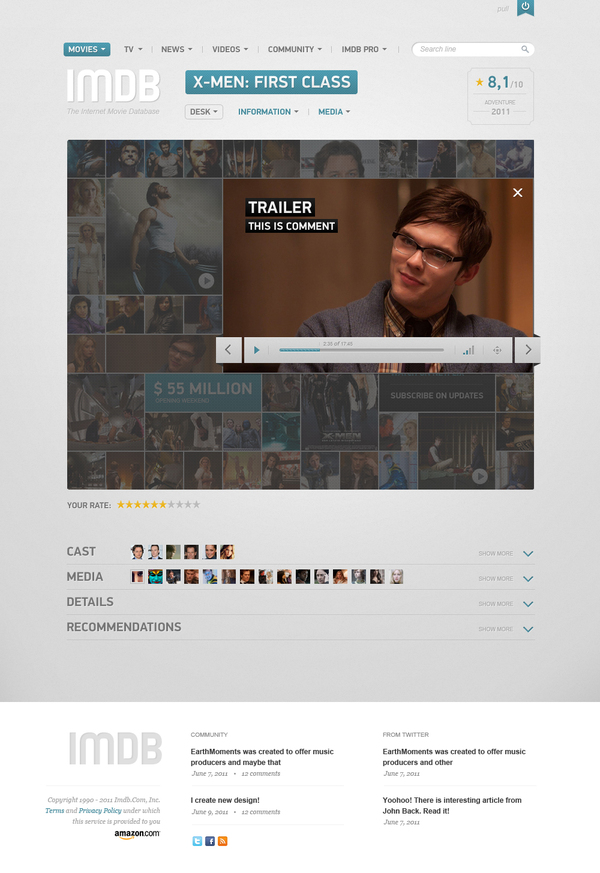 imdb player popup component vladimir kudinov 18 Cool Concept Designs (Facelift) of Notable Websites