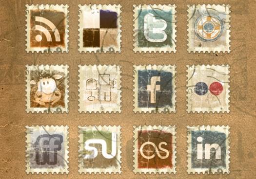 Vintage Stamp Social Media Icons