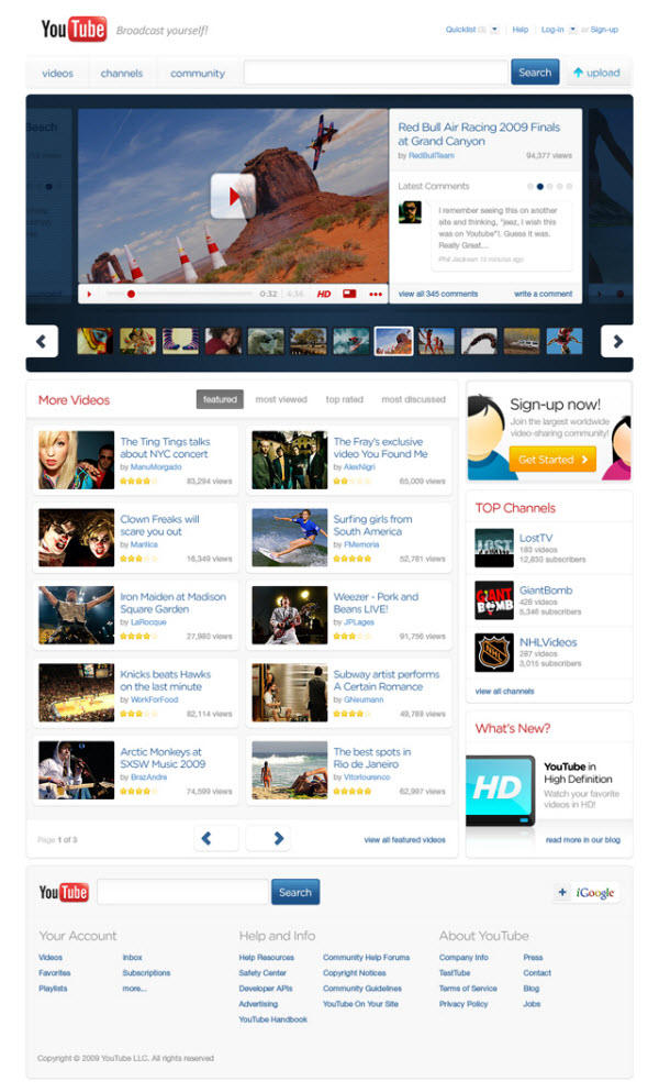 youtube main page thadeu morgado 18 Cool Concept Designs (Facelift) of Notable Websites
