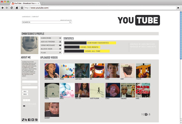 youtube user page michele byrne 18 Cool Concept Designs (Facelift) of Notable Websites