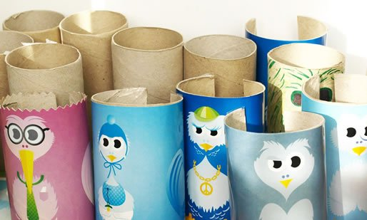 Graphic Designed Floppy Birds Out of Toilet Paper Rolls