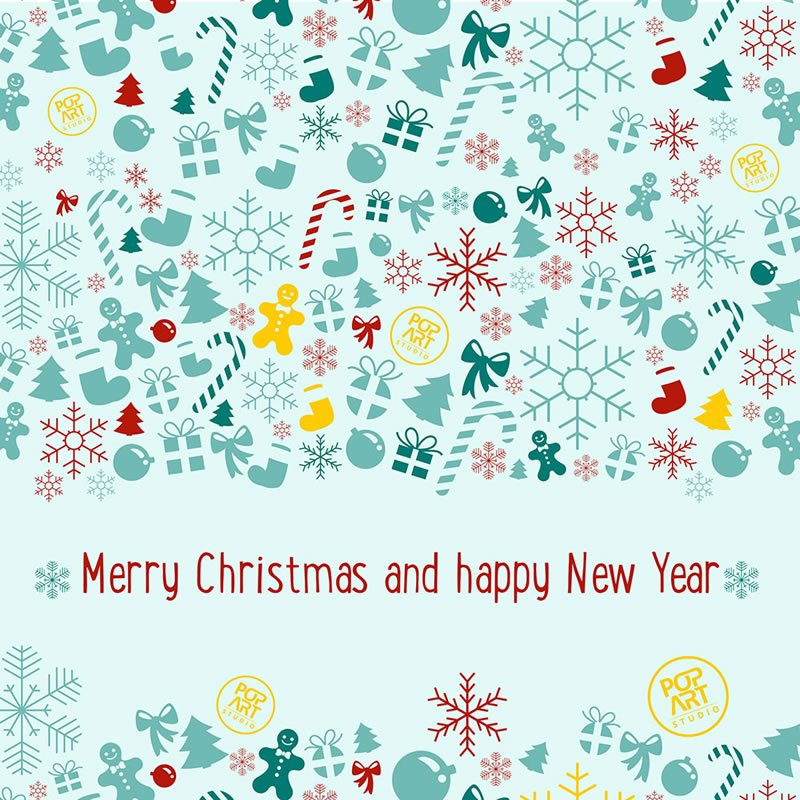 PopArt greeting card for New Year and Christmas