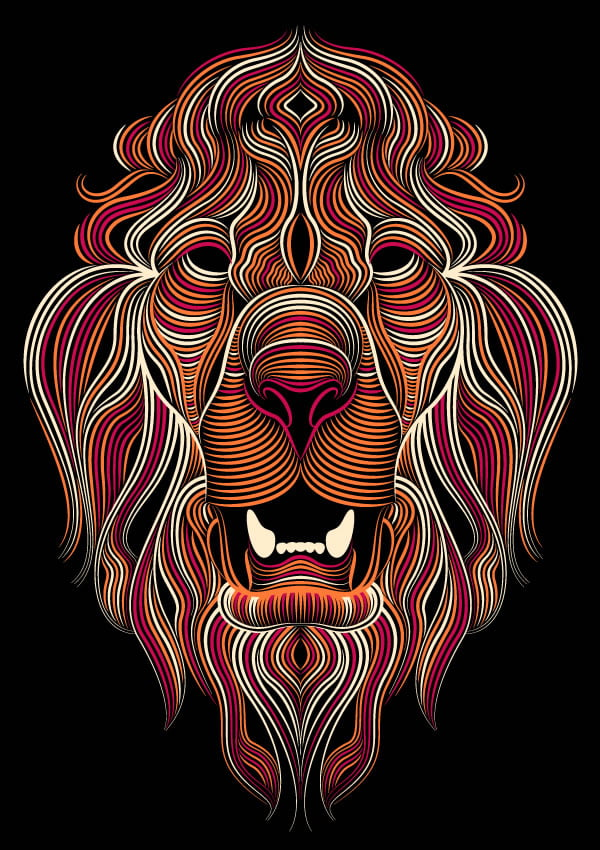 creative cloud illustrator lion colored by patrick seymour