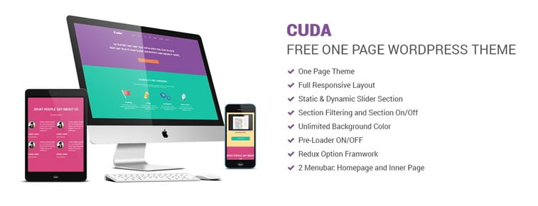 cuda one page wordpress theme free