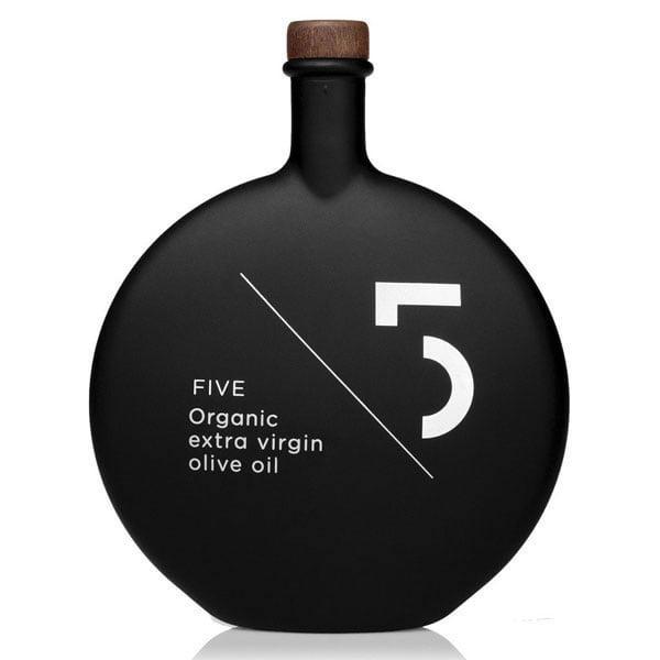 dizajn ambalaže za FIVE organsko maslinovo ulje - extra virgin