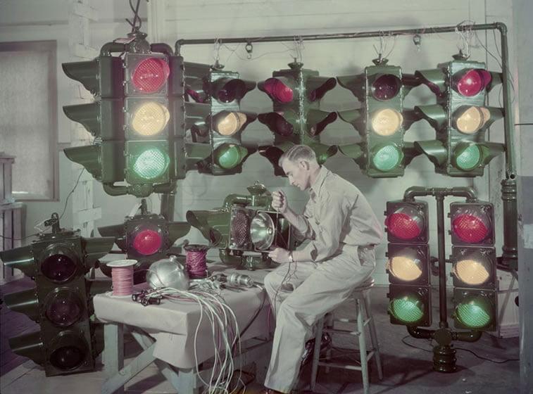 pravljenje semafora u Šreveportu, Luizijana 1947.