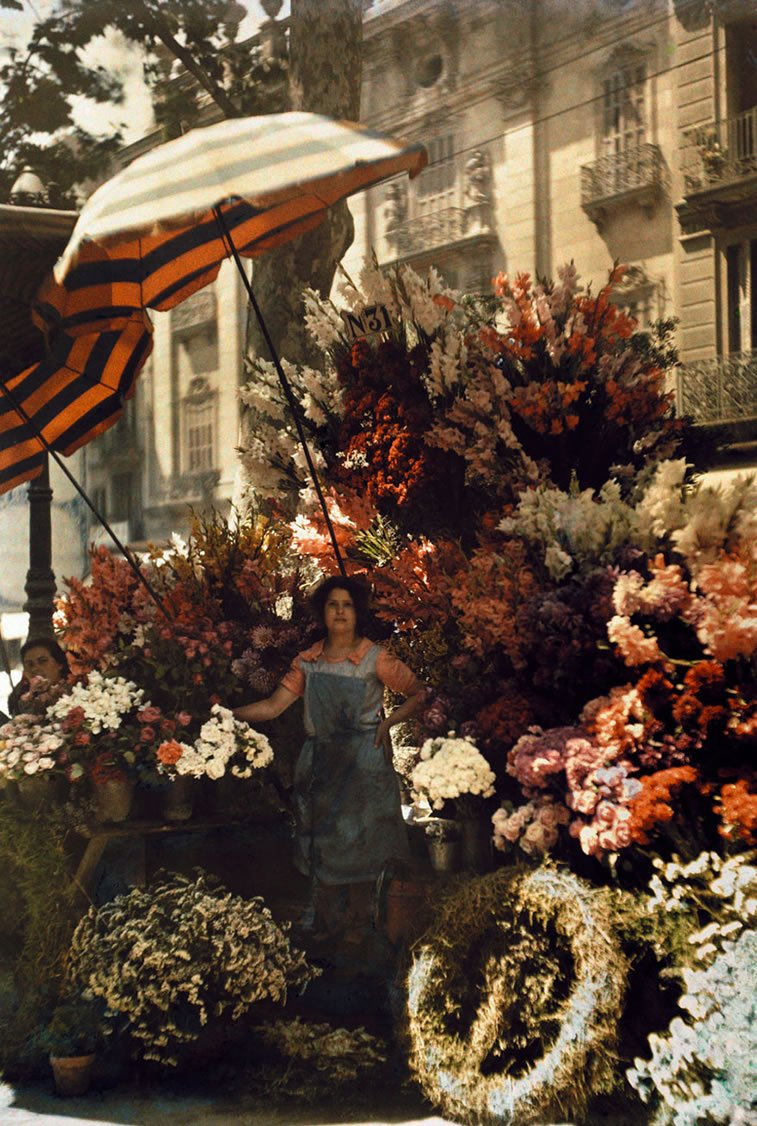 prodavačica cveća na Rambli u Barseloni 1929.