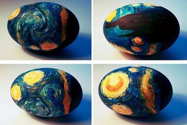 Ideje za ukrašavanje uskršnjih jaja (22) umetničke slike van gog mesečina