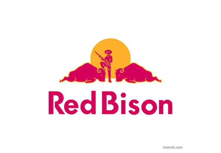 Logo design Universal Unbranding Project by Maentis (2) Red Bison as Red Bull