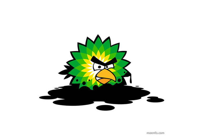 Logo design Universal Unbranding Project by Maentis (3) Angry Birds British Petroleum BP oil spill