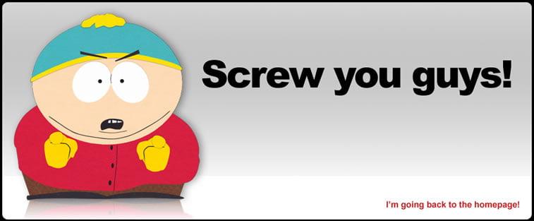 greška 404 stranica nije pronađena southpark studios