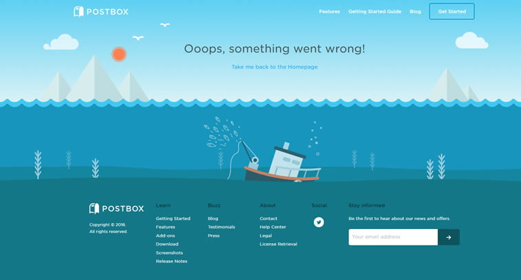 najbolje 404 stranice postbox