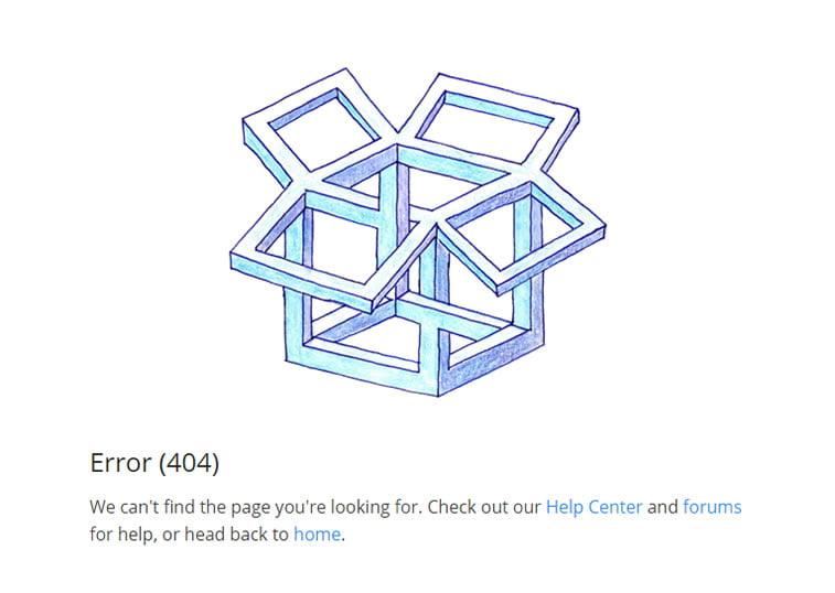 stranica nije pronađena greška 404 dropbox