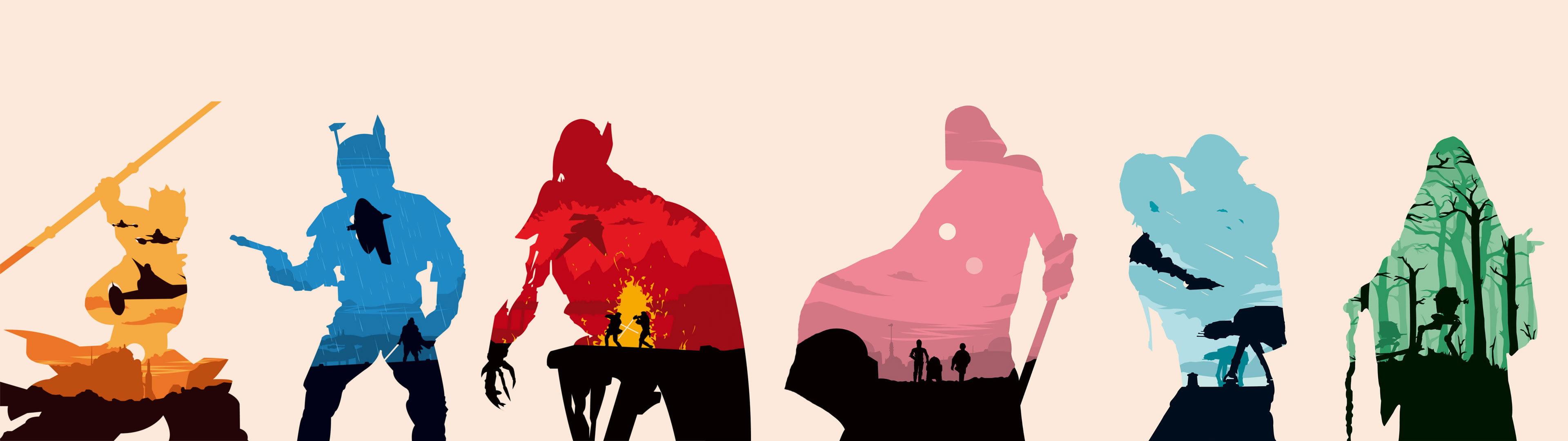 besplatne pozadine za dva monitora star wars silhouettes