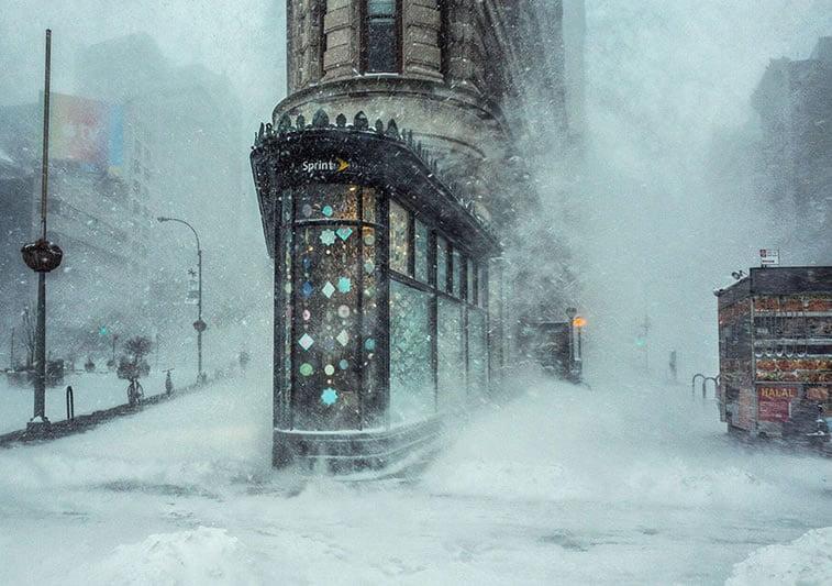Mećava Džonas i zgrada Fletajron, Njujork (SAD)