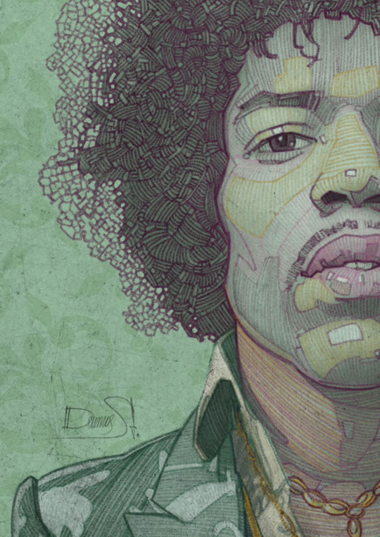 stavros damos illustration jimi hendrix detail