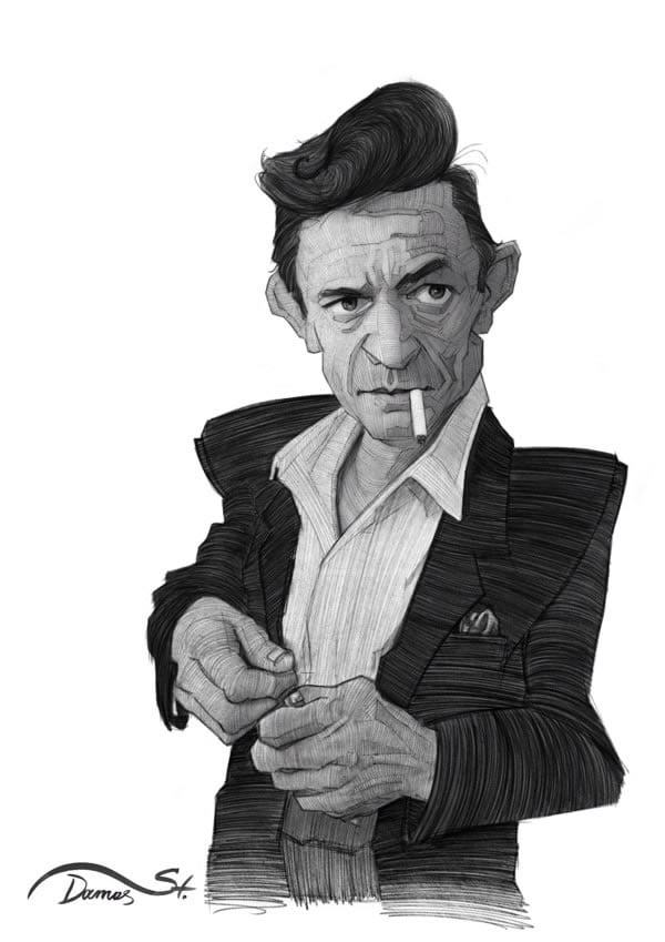 stavros damos illustration johnny cash