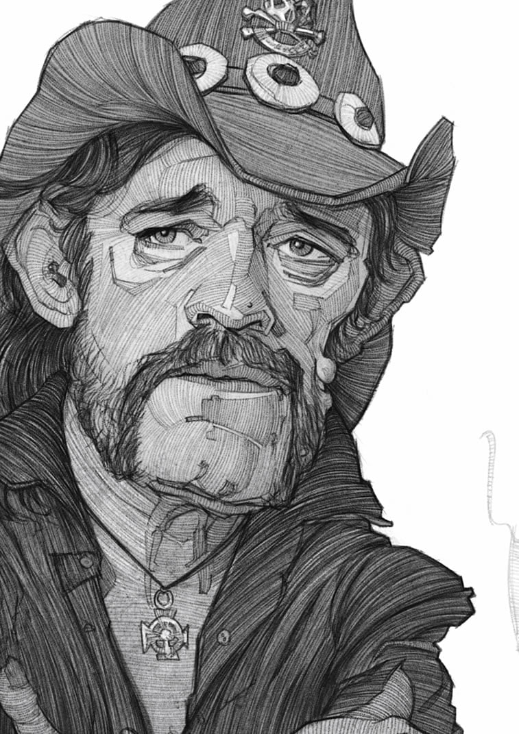 stavros damos illustration lemmy kilmister detail
