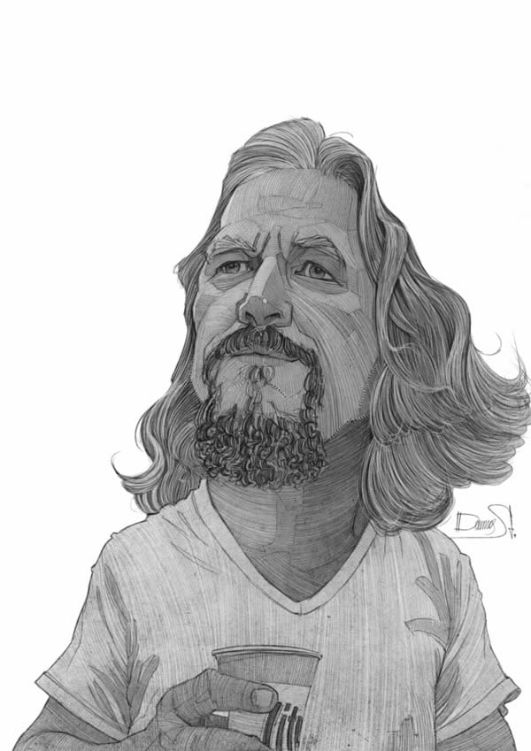 stavros damos illustration the big lebowski jeff bridges