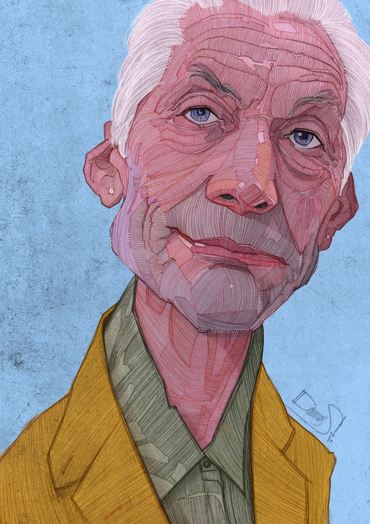 stavros damos illustration the rolling stones charlie watts