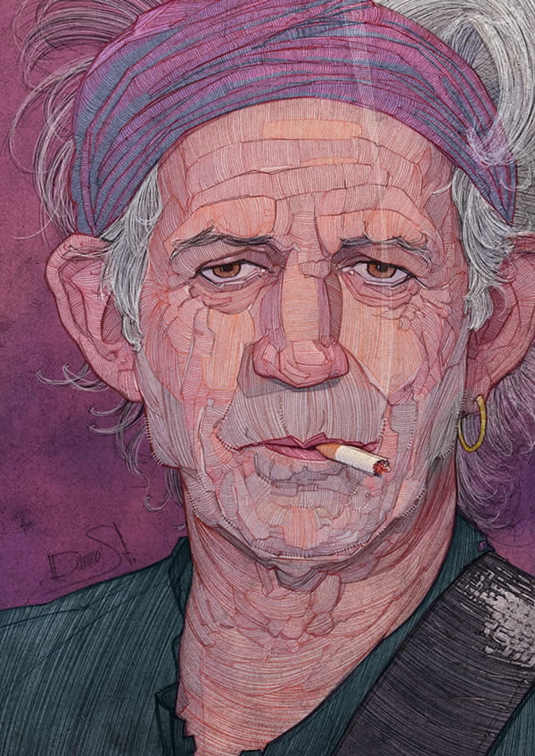 stavros damos illustration the rolling stones keith richards