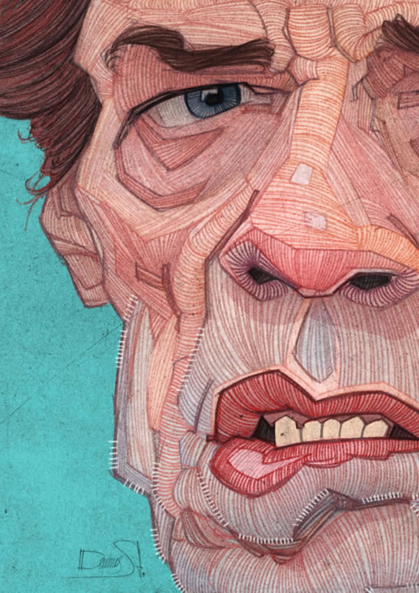 stavros damos illustration the rolling stones mick jagger detail