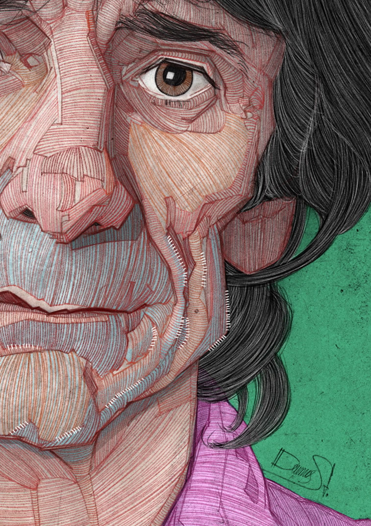 stavros damos illustration the rolling stones ronnie wood detail