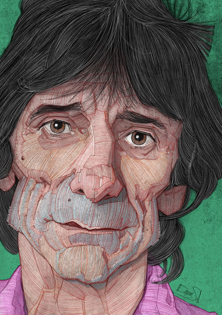 stavros damos illustration the rolling stones ronnie wood