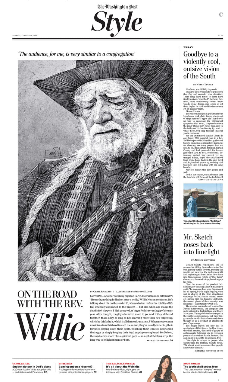 stavros damos illustration willie nelson for the washington post 2