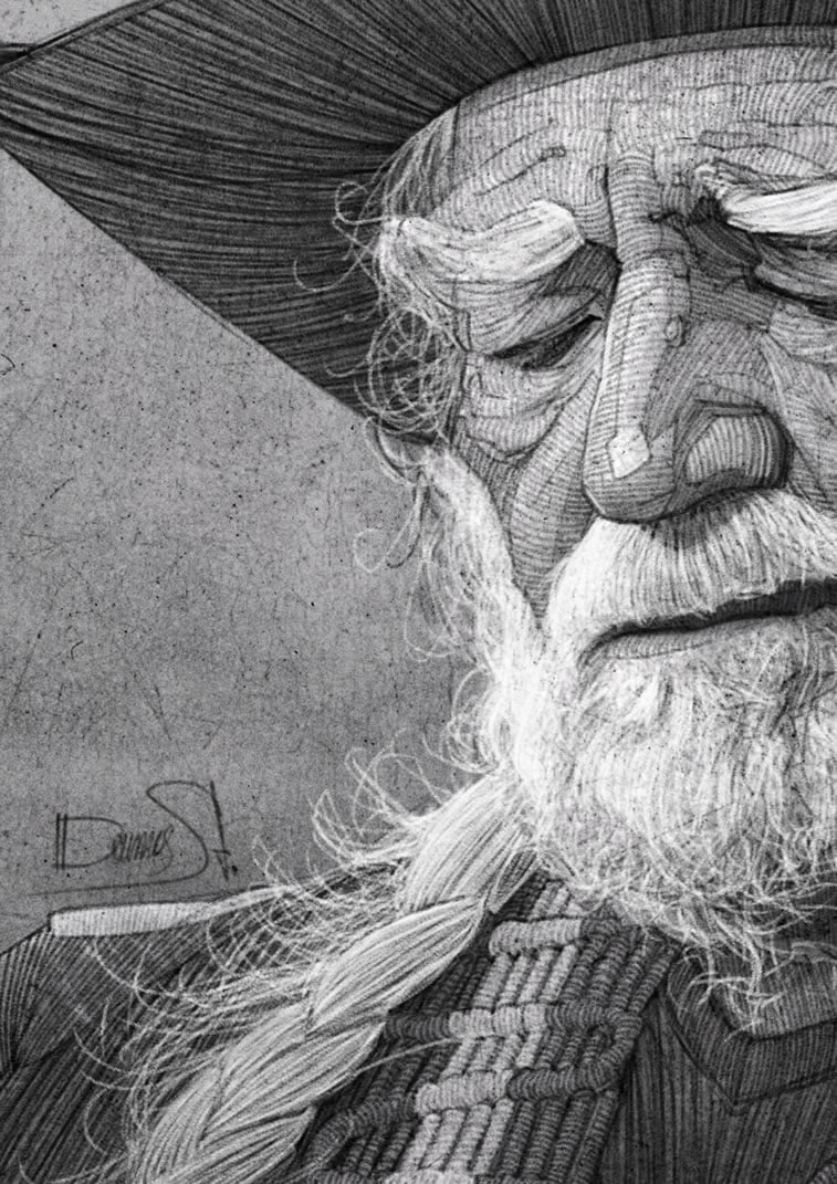 stavros damos illustration willie nelson for the washington post detail