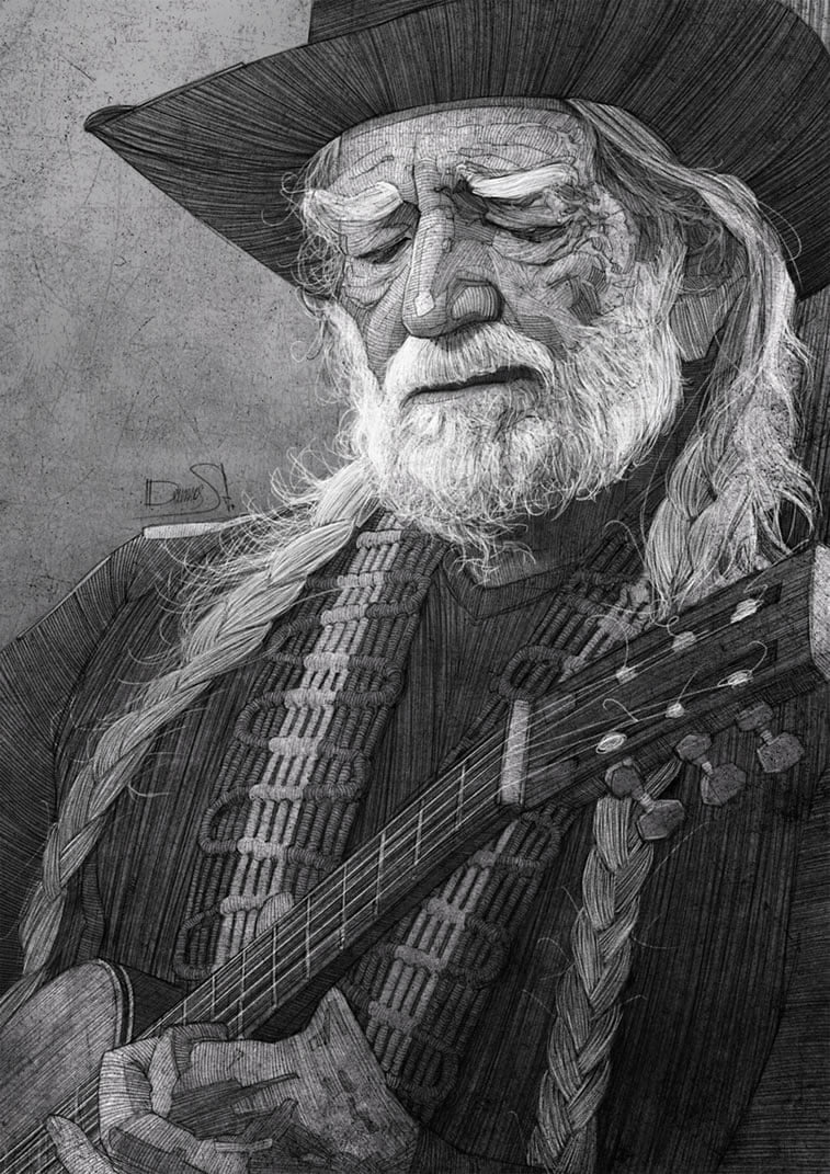 stavros damos illustration willie nelson for the washington post