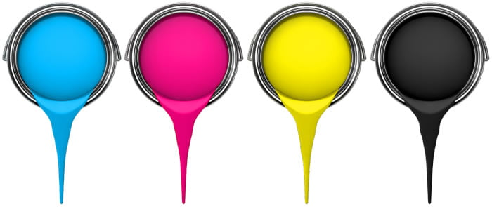 cmyk buckets of paint