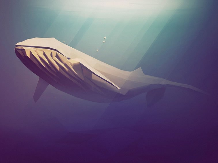 low poly blue whale