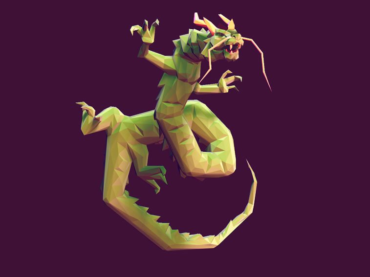 low poly cloud serpent