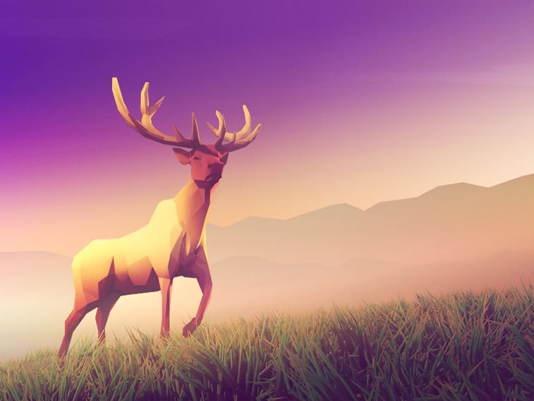 low poly elk