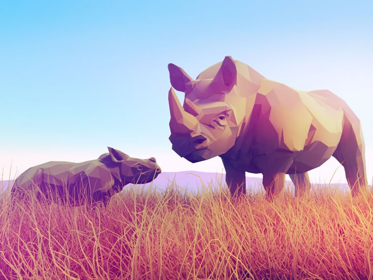 low poly rhinos