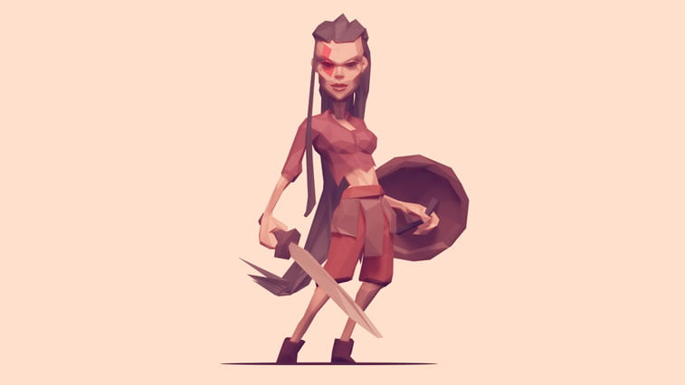 low poly shieldmaiden