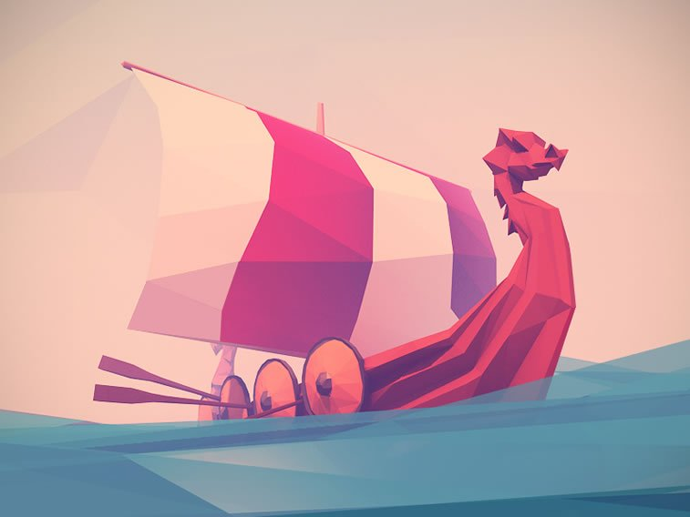 low poly viking boat