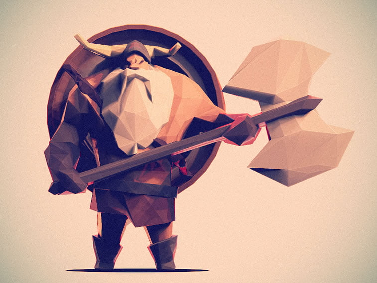 low poly viking