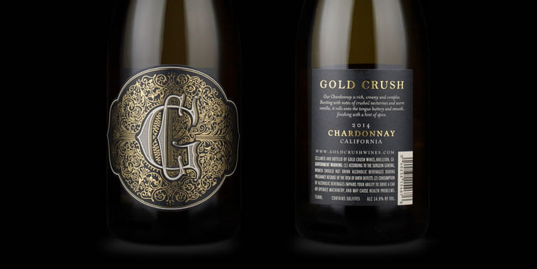 dizajn etikete za vino gold crush